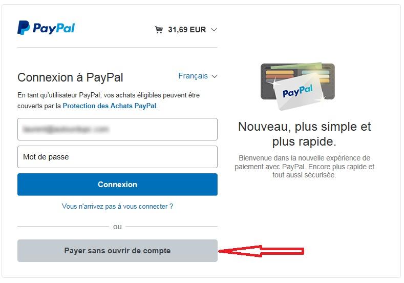Payer par PayPal sans compte PayPal sur ctechnik.com