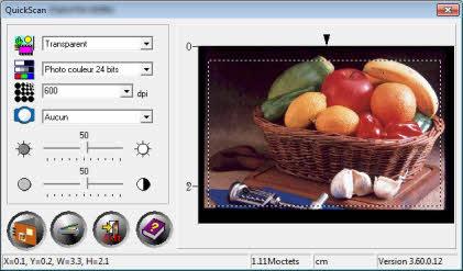 Apercu de QuickScan avant numérisation