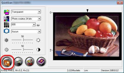 Bouton de numérisation de QuickScan