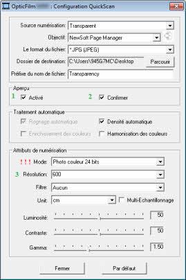 Propriétés et réglages de QuickScan